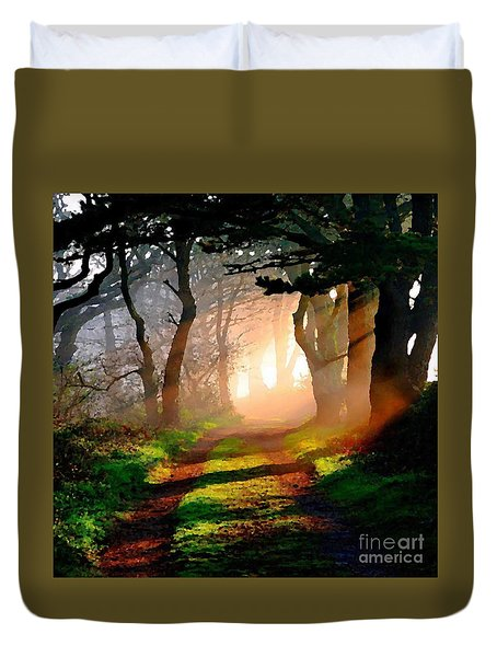 Road Through The Woods Duvet Cover