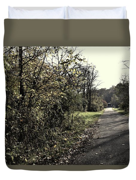 Road To Covered Bridge Duvet Cover by Joanne Coyle