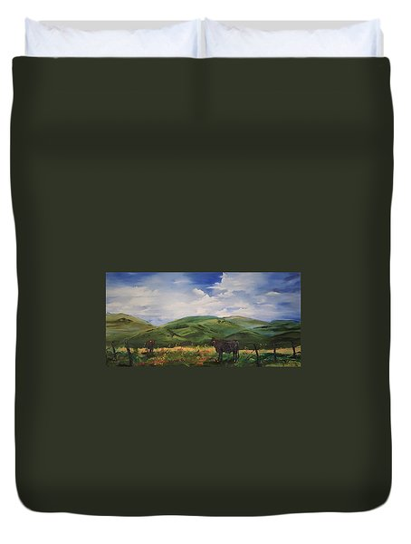 Road To Melrose, Montana         32 Duvet Cover
