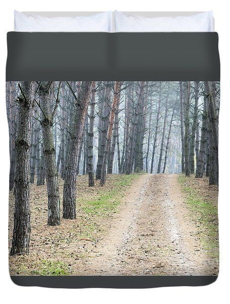 Road To Pine Forest Duvet Cover