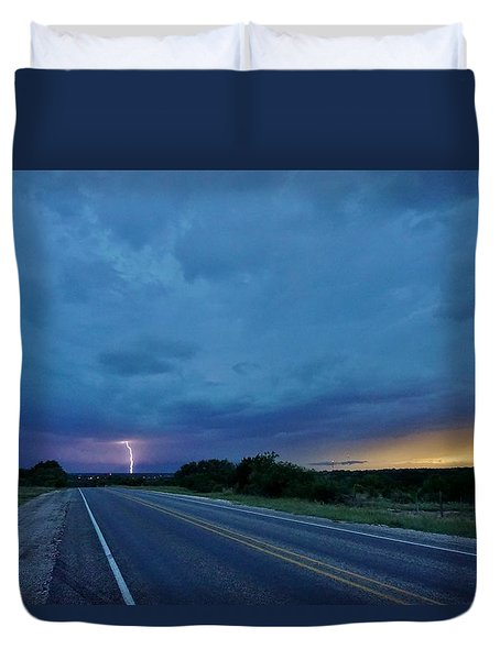 Lightning Over Sonora Duvet Cover