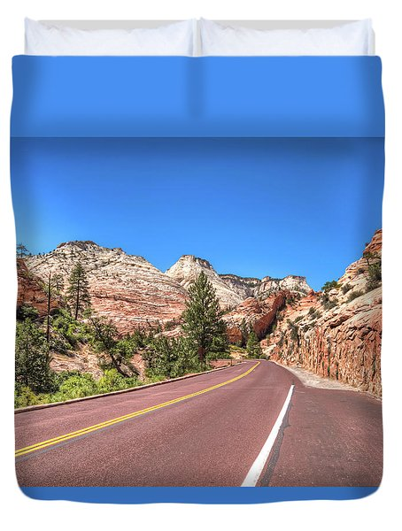 Duvet Cover featuring the photograph Road To Zion by Brent Durken