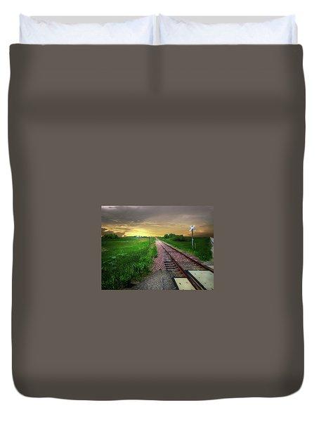 Road Track Crossing Duvet Cover