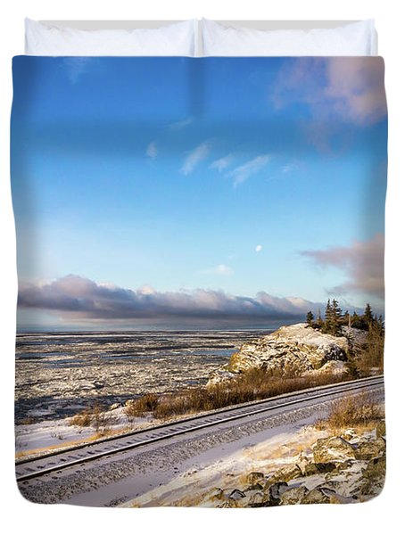 Road, Tracks, And Water Duvet Cover