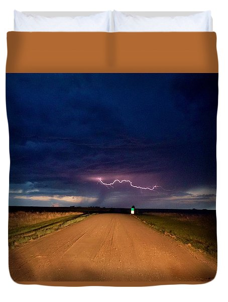 Duvet Cover featuring the photograph Road Under The Storm by Ed Sweeney
