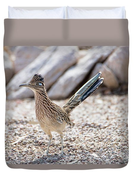 Duvet Cover featuring the photograph Roadrunner Hunting by Dan McManus