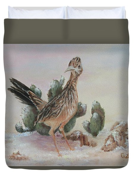 Duvet Cover featuring the painting Roadrunner In Snow by Roseann Gilmore
