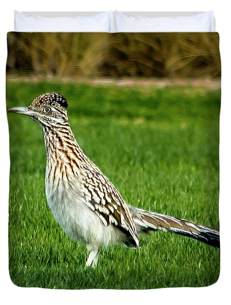 Roadrunner In The Grass Duvet Cover
