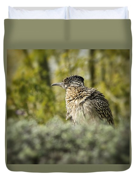 Roadrunner On Guard  Duvet Cover