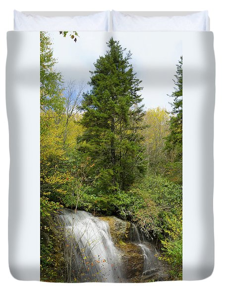 Duvet Cover featuring the photograph Roadside Waterfall In North Carolina by Mike McGlothlen