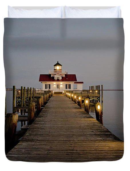 Roanoke Marshes Lighthouse Duvet Cover
