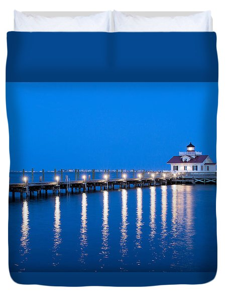 Roanoke Marshes Lighthouse Revisited Duvet Cover by Marion Johnson
