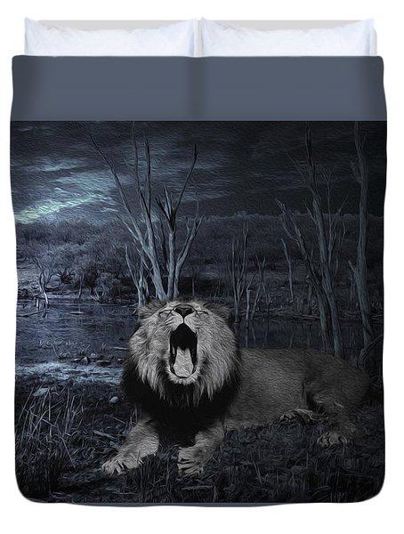Roar Of The Asiatic Lion  Duvet Cover