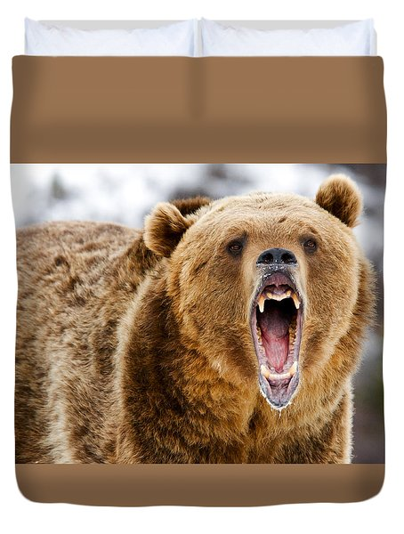 Roaring Grizzly Bear Duvet Cover