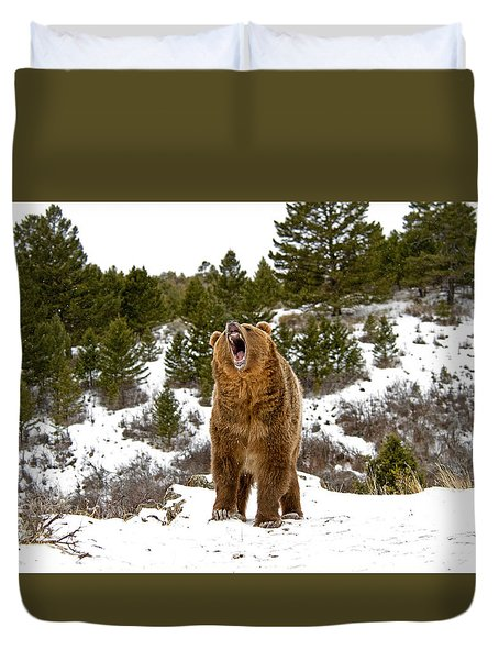 Roaring Grizzly In Winter Duvet Cover