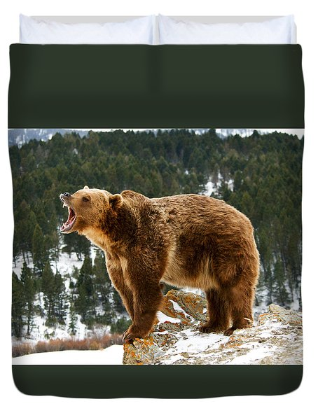 Roaring Grizzly On Rock Duvet Cover