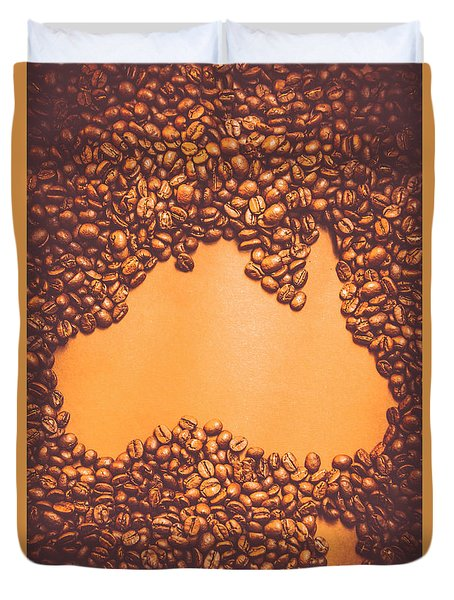 Roasted Australian Coffee Beans Background Duvet Cover