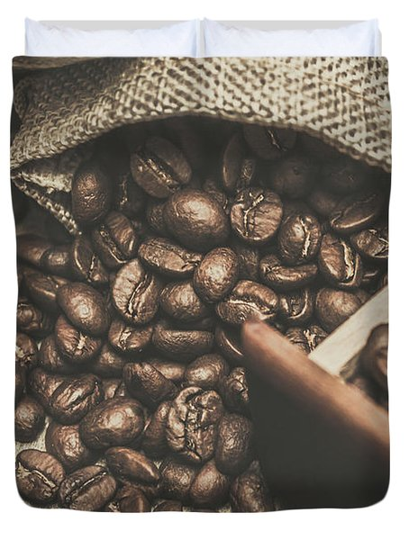 Roasted Coffee Beans In Close-up  Duvet Cover