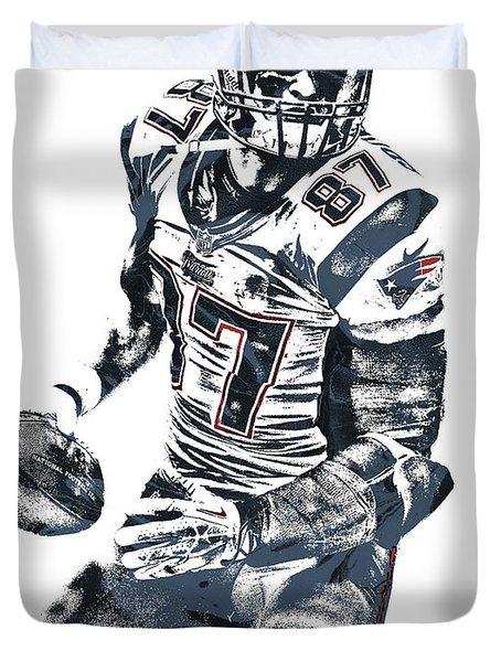 Rob Gronkowski New England Patriots Pixel Art 2 Duvet Cover