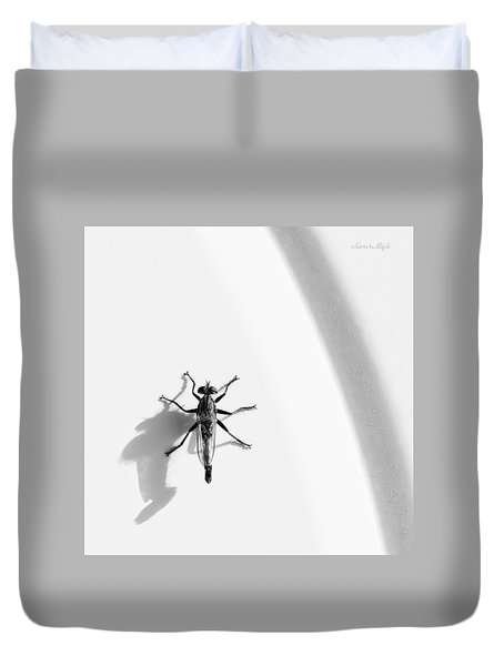 Duvet Cover featuring the photograph Robber Fly On Lawn Chair by Karen Slagle