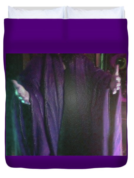 Duvet Cover featuring the digital art Robed Arms by Michelle Audas