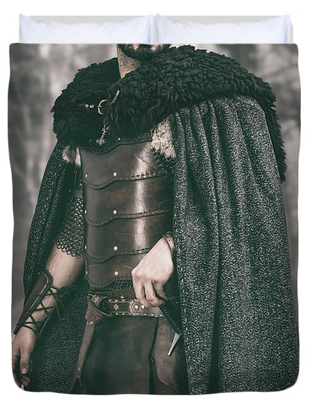 Robed Viking In The Woods Duvet Cover
