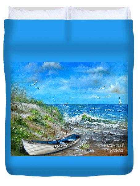Duvet Cover featuring the painting Robert Moses Beach by Patrice Torrillo