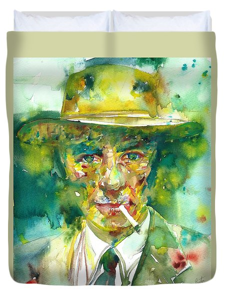 Duvet Cover featuring the painting Robert Oppenheimer - Watercolor Portrait.2 by Fabrizio Cassetta