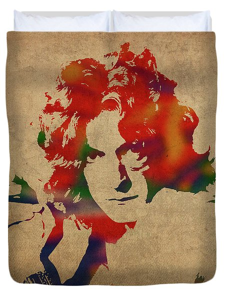 Robert Plant Led Zeppelin Watercolor Portrait Duvet Cover