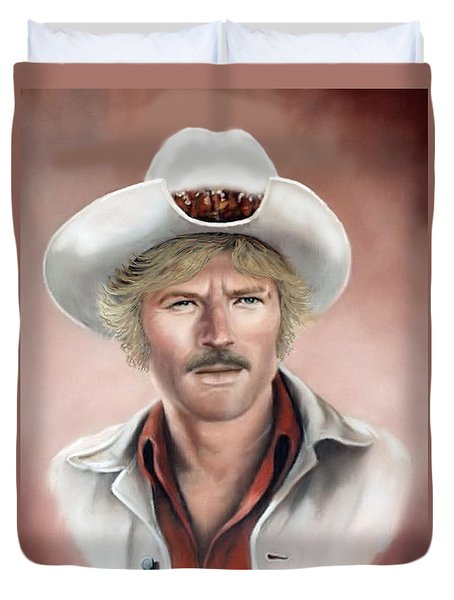 Duvet Cover featuring the painting Robert Redford by Loxi Sibley