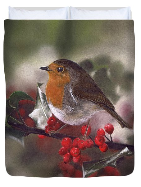 Robin And Berries Duvet Cover