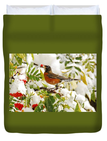 Robin And First Snowfall Duvet Cover by Andrea Kollo