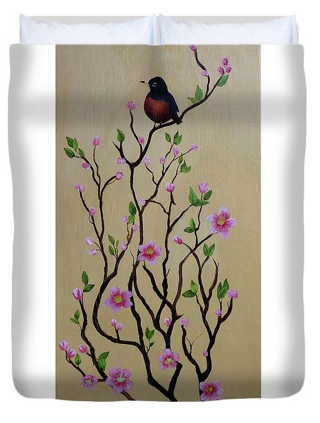 Robin And Spring Blossoms Duvet Cover
