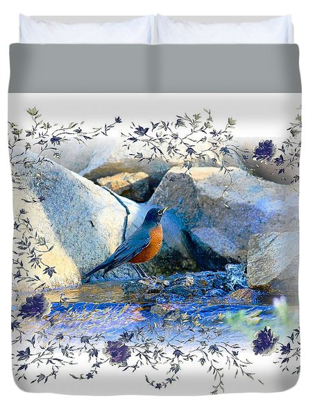 Duvet Cover featuring the photograph Robin by Athala Carole Bruckner