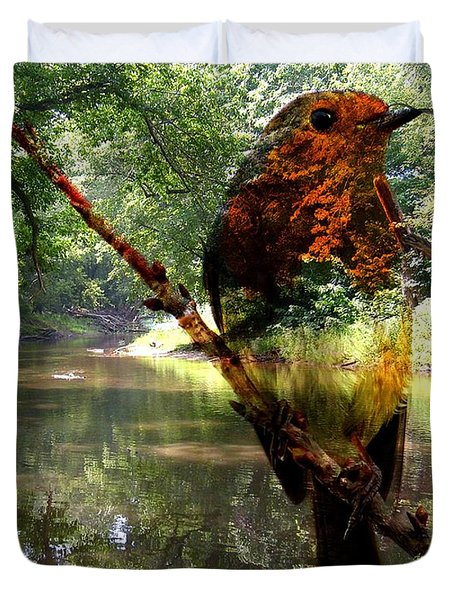 Robin By The River Duvet Cover