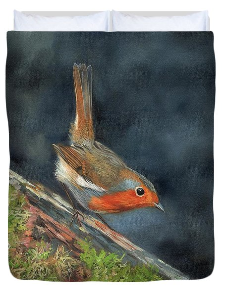 Duvet Cover featuring the painting Robin by David Stribbling