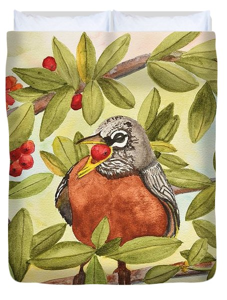 Robin Eating Berries Duvet Cover