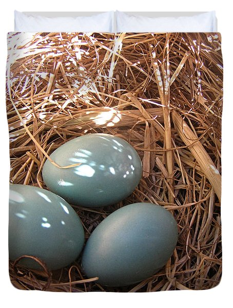 Duvet Cover featuring the photograph Robin Eggs by Angie Rea
