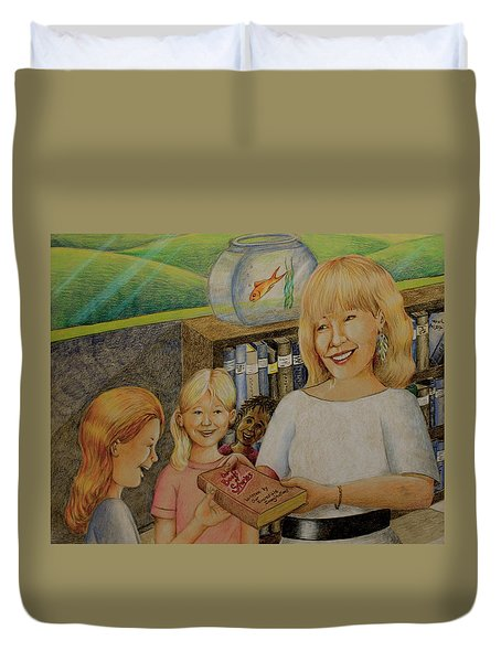 Robin Gives The Book Of Stories To The Children Duvet Cover