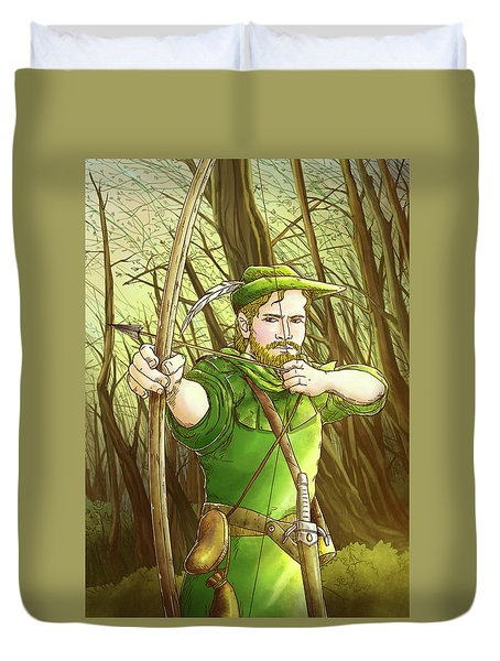 Robin  Hood In Sherwood Forest Duvet Cover