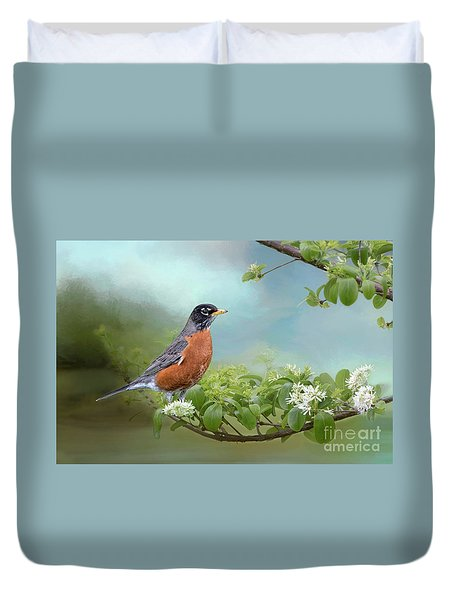 Robin In Chinese Fringe Tree Duvet Cover by Bonnie Barry