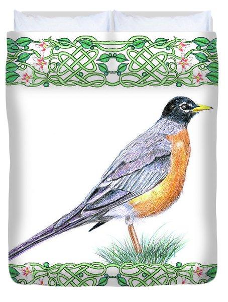 Robin In Spring Duvet Cover