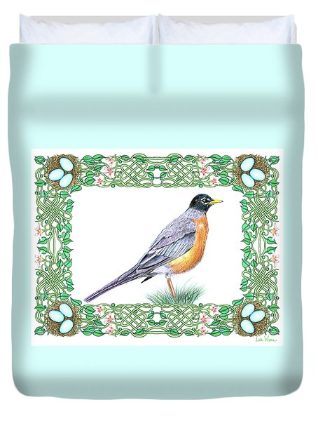 Robin In Spring Duvet Cover