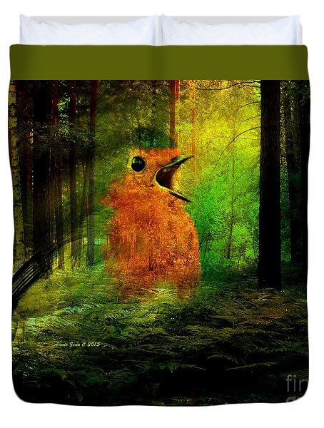 Robin In The Forest Duvet Cover