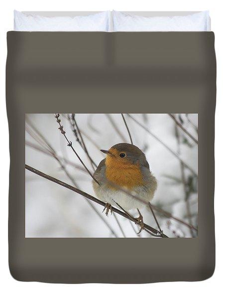 Robin In The Snow Duvet Cover
