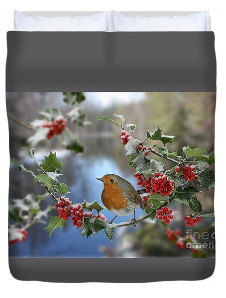 Robin On Holly Branch Duvet Cover