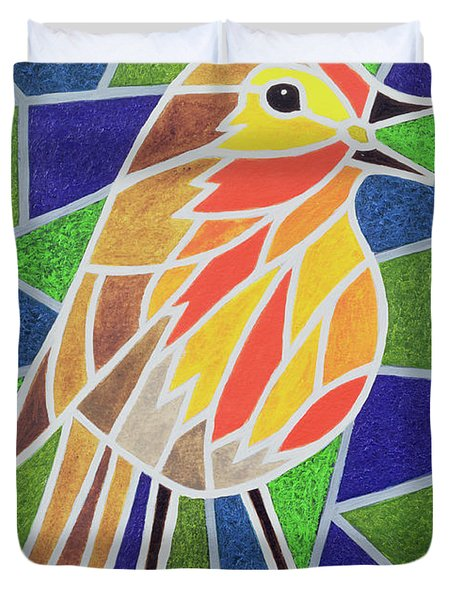 Robin On Stained Glass Duvet Cover by Pat Scott