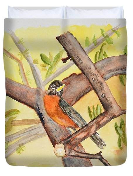 Robin On Tree Branch Duvet Cover