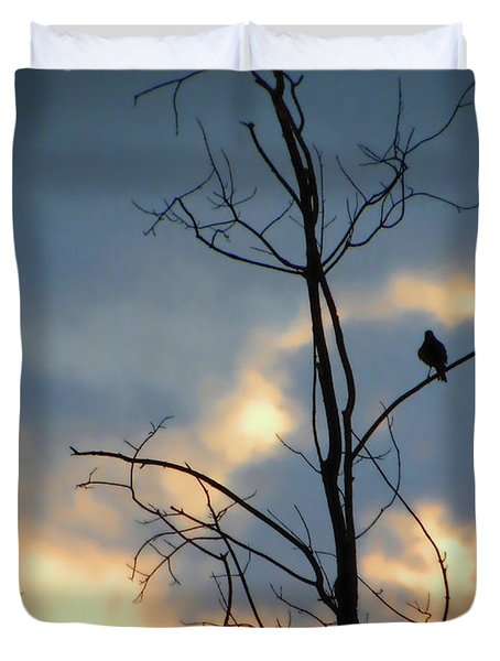 Duvet Cover featuring the photograph Robin Watching Sunset After The Storm by Sandi OReilly