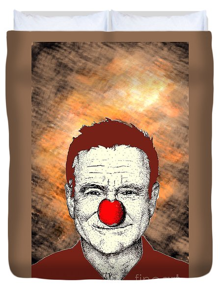 Duvet Cover featuring the drawing Robin Williams 2 by Jason Tricktop Matthews